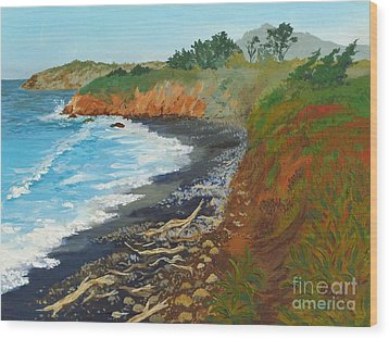 Wood Print featuring the painting San Simeon Ca Coast by Katherine Young-Beck