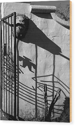 San Xavier Gate Shadow With Cactus 2 Bw Wood Print by Mary Bedy