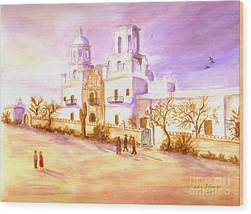 Wood Print featuring the painting San Xavier by Judy Filarecki