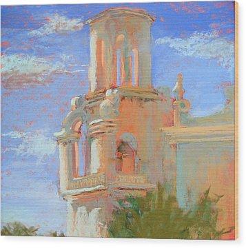 San Xavier Mission Tucson Wood Print by Sandra Ortega