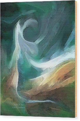 Sand And Sea Wood Print by Carol Cavalaris