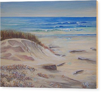 Sand And Sea Wood Print