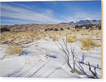Sand And Snow Wood Print by Mike  Dawson