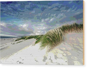 Sand And Surfing Wood Print