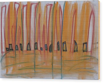 Wood Print featuring the pastel Sand Dance by Stefan Hermannsson