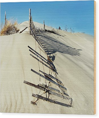 Sand Dune Fences And Shadows Wood Print by Gary Slawsky