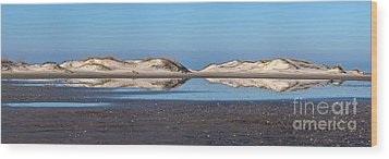 Sand Dune Reflections On The Outer Banks Wood Print by Dan Carmichael