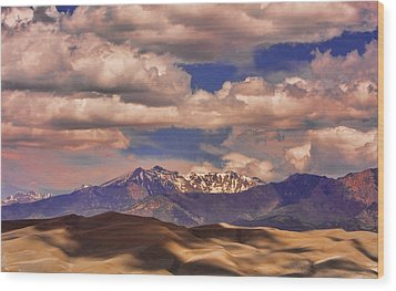 Sand Dunes - Mountains - Snow- Clouds And Shadows Wood Print by James BO  Insogna