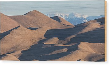 Sand Dunes And Rocky Mountains Panorama Wood Print by James BO Insogna