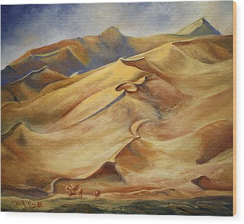 Wood Print featuring the painting Sand Dunes by Roena King