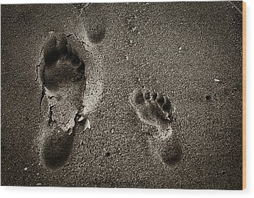Wood Print featuring the photograph Sand Feet by Lora Lee Chapman