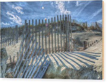 Sand Fence Wood Print by Greg Reed