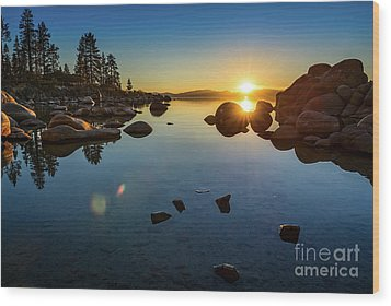 Sand Harbor Sunset Wood Print