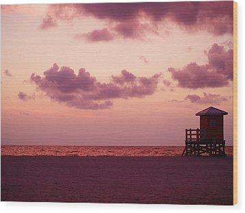 Sand Key Sunset Wood Print by Milton Brugada