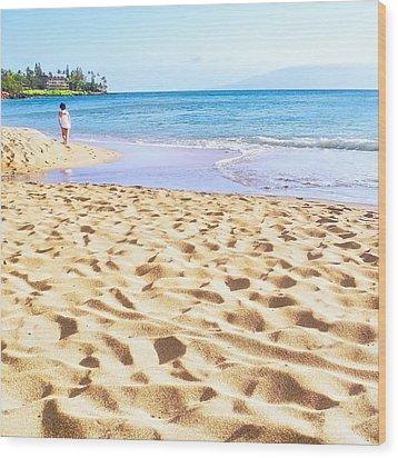 Sand Sea And Shadows Wood Print