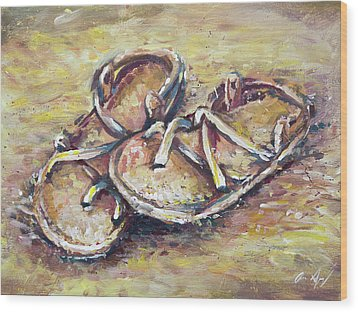 Sandals Wood Print by Aaron Spong