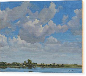 Sandbar Slough July Skies Wood Print by Bruce Morrison