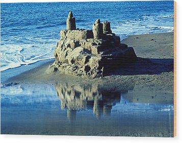 Sandcastle On Beach Wood Print by Garry Gay