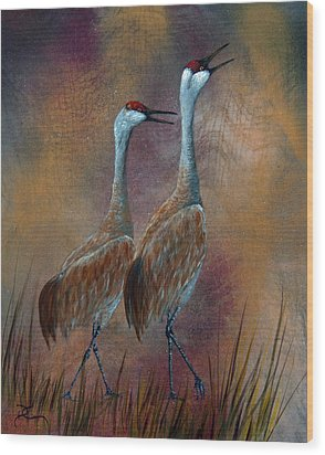 Sandhill Crane Duet Wood Print by Dee Carpenter