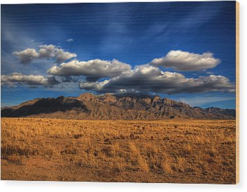 Sandia Crest In Late Afternoon Light Wood Print by Alan Vance Ley