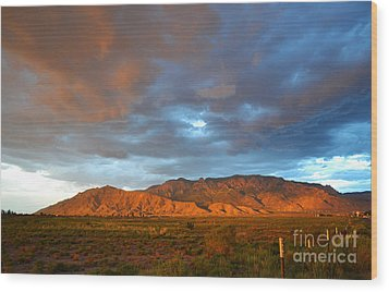 Sandia Mountains Colorful Sunset Wood Print by Andrea Hazel Ihlefeld