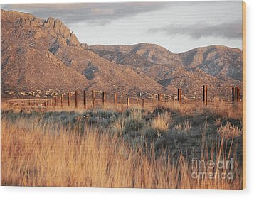Sandia Mountains Rustic Fence Countryside Wood Print by Andrea Hazel Ihlefeld