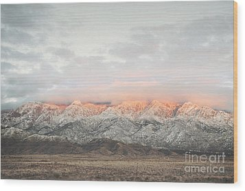 Sandia Mountains Rustic Sunset Landscape Wood Print by Andrea Hazel Ihlefeld