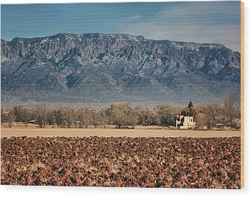 Wood Print featuring the photograph Sandias - Los Poblanos Fields by Nikolyn McDonald