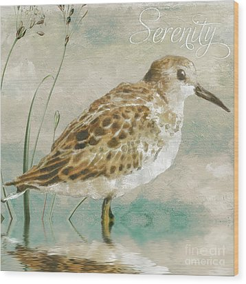 Sandpiper I Wood Print by Mindy Sommers
