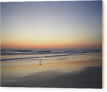 Sandpiper Sunrise Wood Print by Cheryl Waugh Whitney