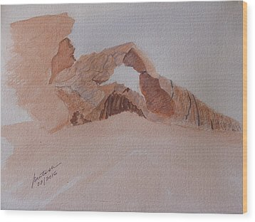 Wood Print featuring the painting Sandstone Arch - Valley Of Fire  by Joel Deutsch