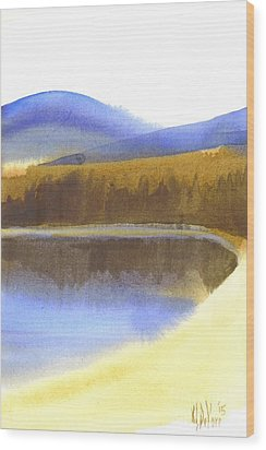 Wood Print featuring the painting Sandy Blue Dusky Mountain Lake by Kip DeVore