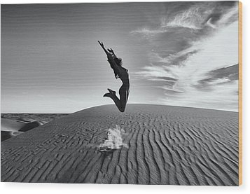 Sandy Dune Nude - The Jump Wood Print