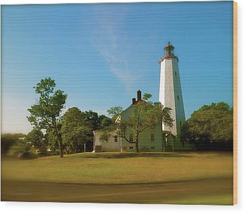 Wood Print featuring the photograph Sandy Hook Lighthouse by Iconic Images Art Gallery David Pucciarelli