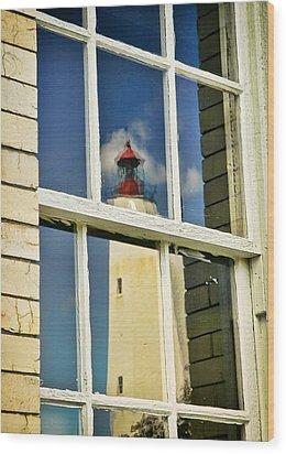 Sandy Hook Lighthouse Reflection Wood Print by Gary Slawsky