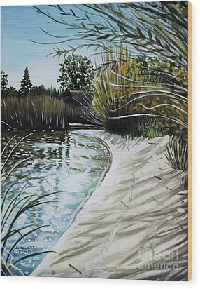 Wood Print featuring the painting Sandy Reeds by Elizabeth Robinette Tyndall