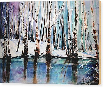 Wood Print featuring the painting Sandy River  by Marti Green