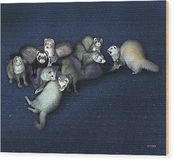 Sandy's Ferrets Wood Print by Barbara Hymer