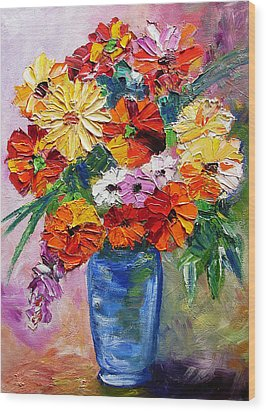 Sandy's Flowers Wood Print by Mary Jo Zorad