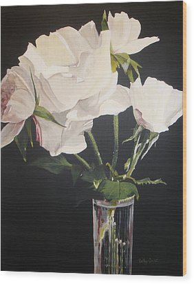 Sandys Roses Wood Print by Betty-Anne McDonald