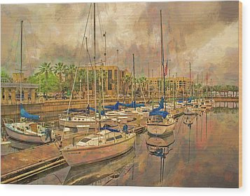 Wood Print featuring the photograph Sanford Sailboats by Lewis Mann