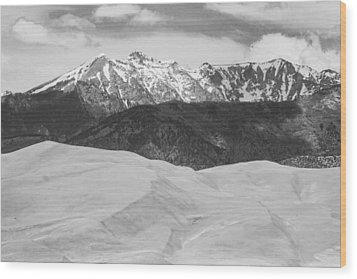 Sangre De Cristo Mountains And The Great Sand Dunes Bw Wood Print by James BO  Insogna