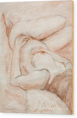 Wood Print featuring the drawing Sanguine Nude by Kerryn Madsen-Pietsch