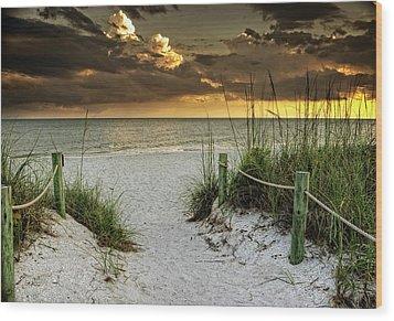 Sanibel Island Beach Access Wood Print by Greg Mimbs