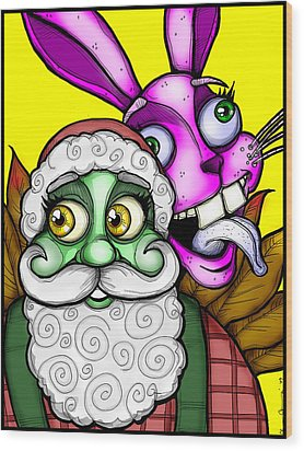 Santa And Bunny Wood Print by Christopher Capozzi