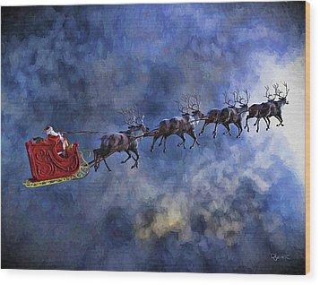 Santa And Reindeer Wood Print by Dave Luebbert