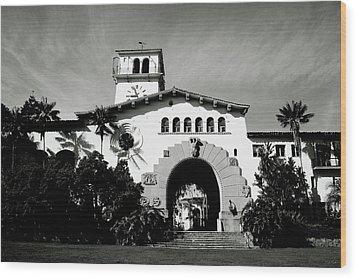 Santa Barbara Courthouse Black And White-by Linda Woods Wood Print by Linda Woods