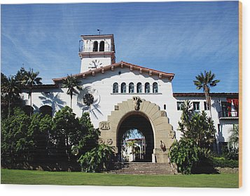 Santa Barbara Courthouse -by Linda Woods Wood Print by Linda Woods