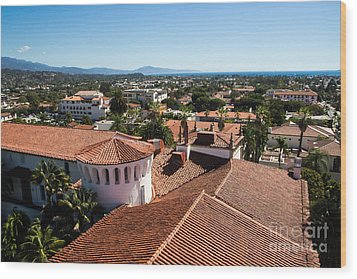 Santa Barbara From Above Wood Print by Suzanne Luft