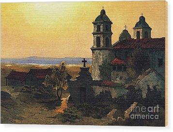 Santa Barbara Mission Wood Print by Pg Reproductions